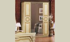 Drehtürenschrank Kleiderschrank 4-türig mit 2 Spiegeltüren Hochglanz Beige-Gold