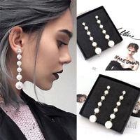 Women's Elegant Big Pearl Long Tassel Dangle Earrings Crystal Stud Drop Hot Gift