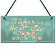 Happiness Caravan Campervan Door Plaque Retirement Travelling Gifts For Him