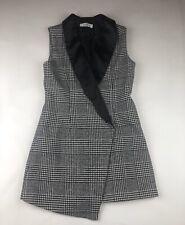 MAX MARA Women's Houndstooth Long Cotton/poly Blend Vest Sz 4/6? Tuxedo Collar