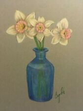 colored pencil drawing daffodil flowers  in blue vase