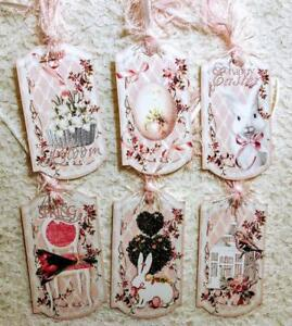 Set of 6 Hang Tags~Shabby Chic Easter~Gift Tags~Scrapbooks~Card Crafts~#68R