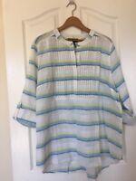Lane Bryant NWT Size 14/16 White Shirt Top T-Shirt, MSRP 49.95, Cotton Linen