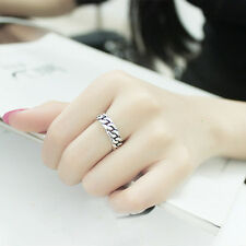 Punk Lock Square Simple Retro Men Women Rings Silver Plated Opening Chain