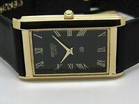 seiko quartz mens gold plated black dial japan made rectangle shape watch run