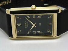 Seiko Quartz Men's Super Slim gold plated black dial rectangle shape watch run