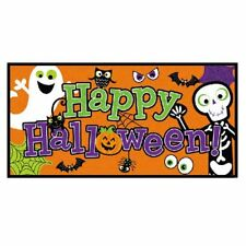 FRIENDLY HAPPY Halloween Wall Banner Ghost Pumpkin Scene Setter Room Decorations