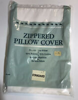 NOS Vintage Zippered  Pillow Cover Standard Size White No-Iron Cotton Blend