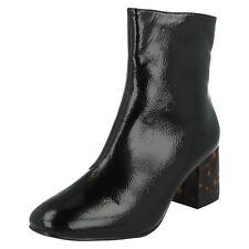 F50563 Ladies Spot on Black Smart Ankle BOOTS Block Heel Size 3 - 8 Black Patent UK 7 Standard