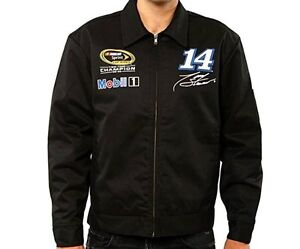 Mens Stewart Mobil 1 Jacket Champion Nascar Mechanics Auto Black Zip Jacket