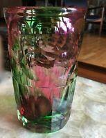 Hoffmann-Moser C.1900's Art Glass Beer Beaker, Vase Faceted Swirled Technique!