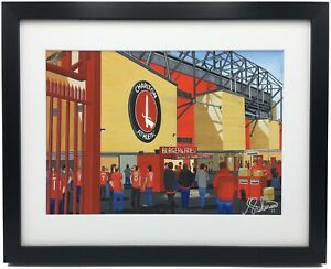 Charlton Athletic FC The Valley Stadium High Quality Framed Art Print.Approx A4.