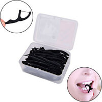 50X Bamboo charcoal Sticks Tooth Clean Picks Dental Floss Flosser Toothpicks Qfw