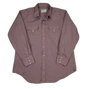 Vintage H Bar C California Ranchwear Mens L Pink USA Pearl Snap Western Shirt