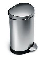 Simplehuman, Semi-round pedal bin, 6 Litres, Brushed Steel, CB1834