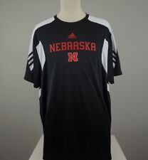 ADIDAS Mens XXL Climalite Scorch Black Nebraska Corn Huskers Short Sleeve Shirt