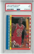 1987 Fleer Michael Jordan Sticker Card #2 PSA 7 NM