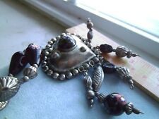 Unusual! Heart Shaped Vintage Silver plate Necklace with Murano glass beads
