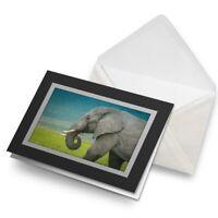 Greetings Card (Black) - Majestic Elephant Wild Animal Birthday Gift #14583