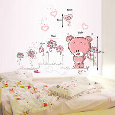 PVC Pink Bear Flower Heart Wall Stickers for Baby Kids Children Bedroom Decor