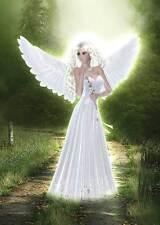Garden Angel Birthday Card women & girls naturally beautiful green and white