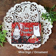 DECO Mini Sign CAT TEA COFFEE CHERRIES PERFECT PURRFECT DAY Wood Ornament Decor