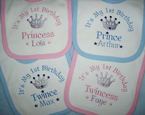 Personalised 1st First Birthday bib Princess Prince Twins Twincess or Twince