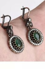 Antique Vintage 925 Silver Green Emerald,Topaz Drop/Dangle Earrings and Pendent
