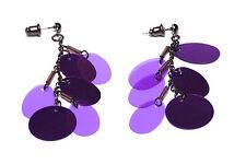 Gun Metal chain/shimmering púrpura grandes lentejuelas Gota Borla pendientes (Zx12)