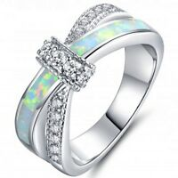 Size 4-12 Australian Fire Opal Wedding Engagement Ring 925 Silver Promise party