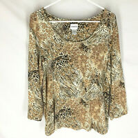 CHICO'S Womens Shirt Size 2 Scoop Neck Animal Print 3/4 Sleeve Stretch