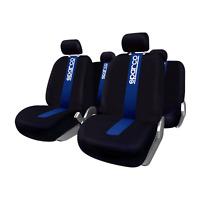 Set completo fodere auto coprisedile SPARCO nere con banda blu e logo SPARCO
