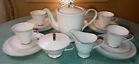 20PC Seyei Bridal Lace Tea Set Teapot Creamer Sugar Bowl Plates Cups Saucers EXC