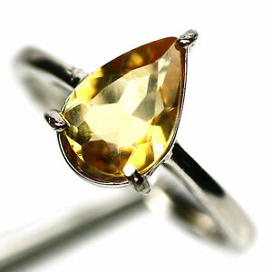 NATURAL 7 X10 mm. GOLDEN YELLOW CITRINE RING 925 STERLING SILVER SIZE 7.75