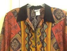 Women's Plus 16W Blouse Print Brown Gold Red Black Vintage Caliche PreOwned Nice