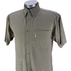 Columbia Mens Short Sleeve Shirt Button Up Tan Check Cotton Fishing Hiking Large