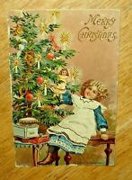 Antique 1914 Embossed Girl & Christmas Tree Post Card - Made In Germany