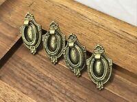 4 Vtg Antique Brass Drawer Pulls Drop Bail Victorian Art Deco MCM Dresser Handle