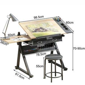 Adjustable Drafting Table Art Craft Drawing Desk W/Stool Architect Desk Stand UK