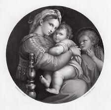 1800s RAPHAEL Engraving Mary, Child Christ & John the Baptist SIGNED Framed COA