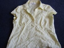 Debenhams yellow cap sleeved summer blouse size 14 petite