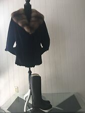 NWOT Natural Sheared Female Farm Mink Black  Jacket  Russian Sable Colar sz M-L