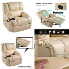 Massage Therapy Lazy Boy Leather Chair Recliner Heat Club Seat Rocker Color Beig