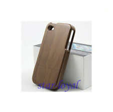 Real Genuine Natural  Bamboo Wood Wooden Hard Case Cover iPhone 4 4S 4G + Film