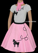 "3-Pc Pink Poodle Skirt Outfit _ Adult Size SMALL _ Waist 25""- 32"" _ Length 25"""