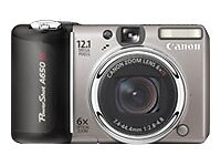 Canon PowerShot A650 IS 12.1MP Digital Camera - Silver & Black