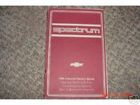 1985 Chevrolet Spectrum Owners Manual 85 Chevy