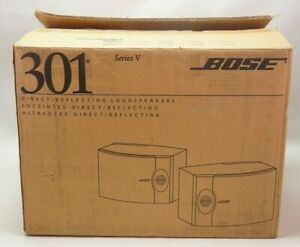 NOS Bose 301 Series V Light Cherry Wood Finish Direct Reflecting Speakers (Pair)