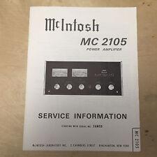 Original McIntosh Service Manual for the MC 2105 Amplifier Amp SN 26M08 +