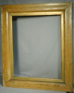 Antique Early American Empire 1840 BIG Ogee Picture Frame OLD Paint Faux Maple